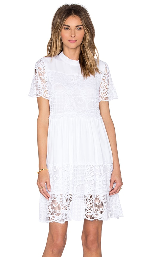 KENDALL + KYLIE Lace Babydoll Dress in White