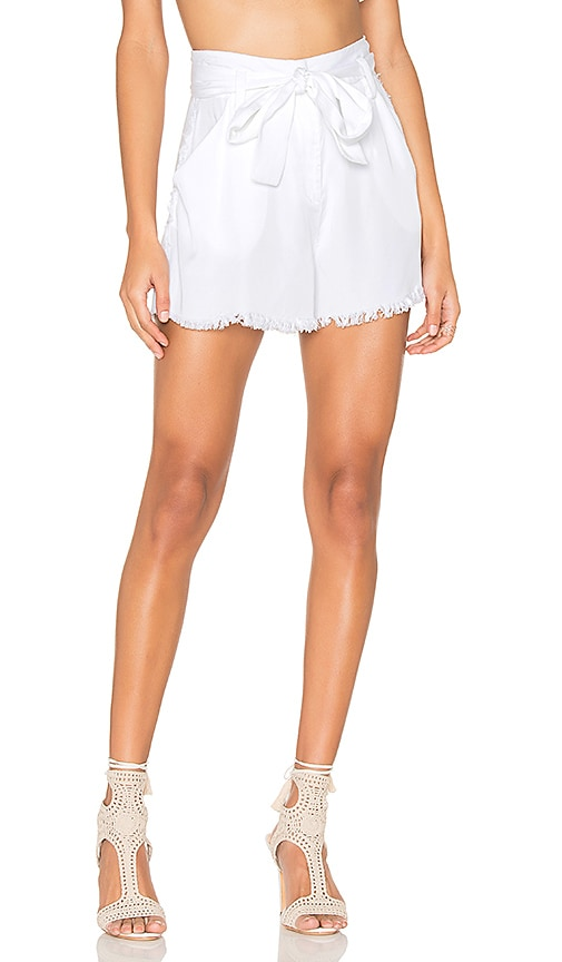 KENDALL + KYLIE Frayed Twill Short in White