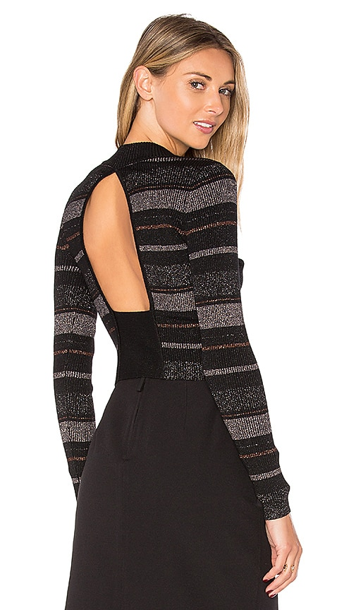 KENDALL + KYLIE Lurex Stripe Long Sleeve Sweater in Black