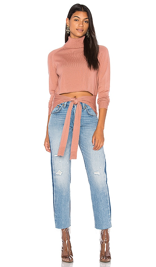 KENDALL + KYLIE Tie Front Sweater in Rose