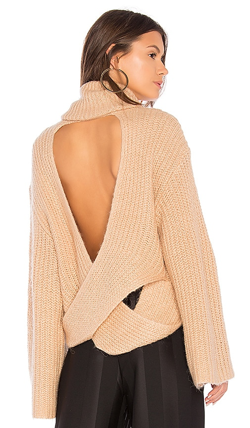 KENDALL + KYLIE Cross Back Turtleneck Sweater in Tan