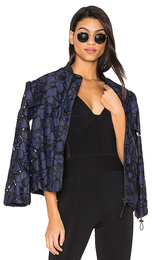 KENDALL + KYLIE Lace Bomber Jacket in Navy