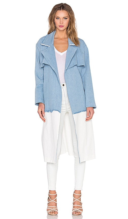 KENDALL + KYLIE Denim Trench Coat in Blue