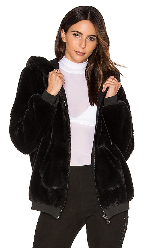 KENDALL + KYLIE Fur Zip Up Faux Fur Hoodie in Black