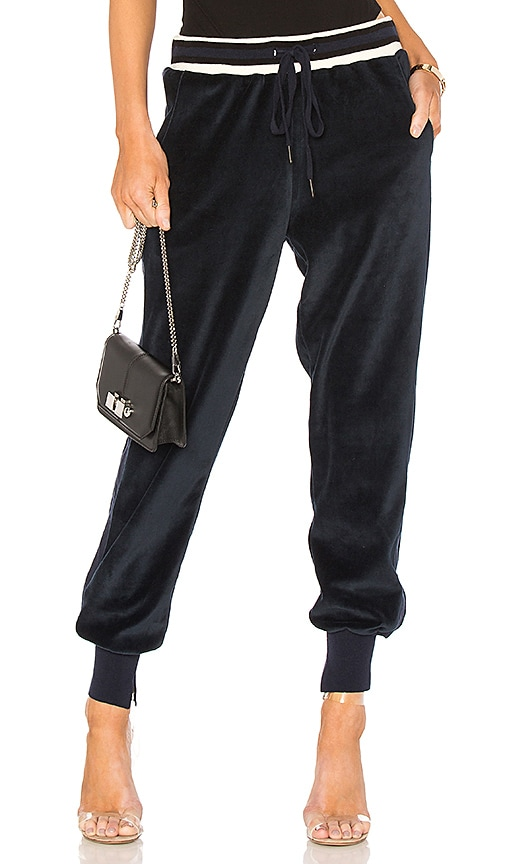KENDALL + KYLIE Velour Jogger in Navy