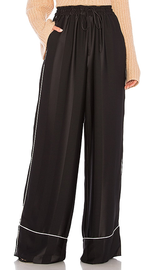 KENDALL + KYLIE Broken Stripe Wide Leg Pant in Black