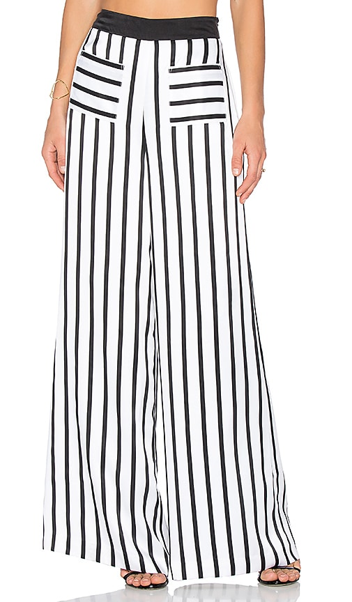 KENDALL + KYLIE PJ Wide Leg Pant in Black & White
