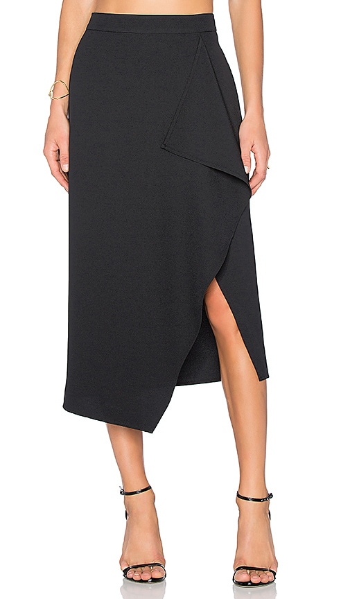 KENDALL + KYLIE Asymmetric Drape Skirt in Black