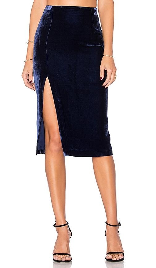 KENDALL + KYLIE Velvet Midi Skirt in Navy