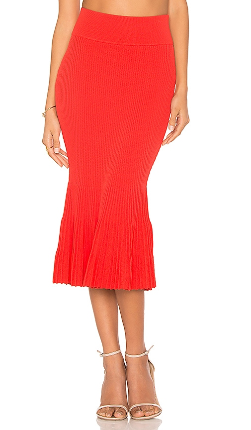 KENDALL + KYLIE Ottoman Mermaid Skirt in Red