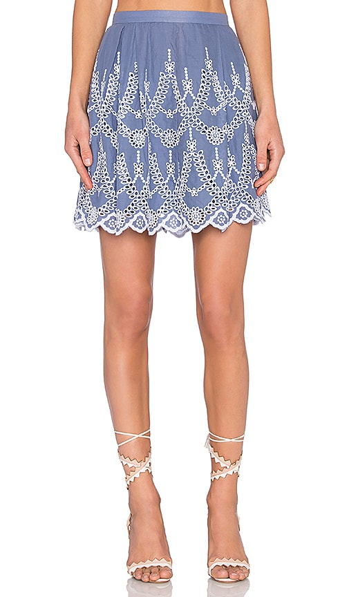 KENDALL + KYLIE Eyelet Circle Skirt in Blue