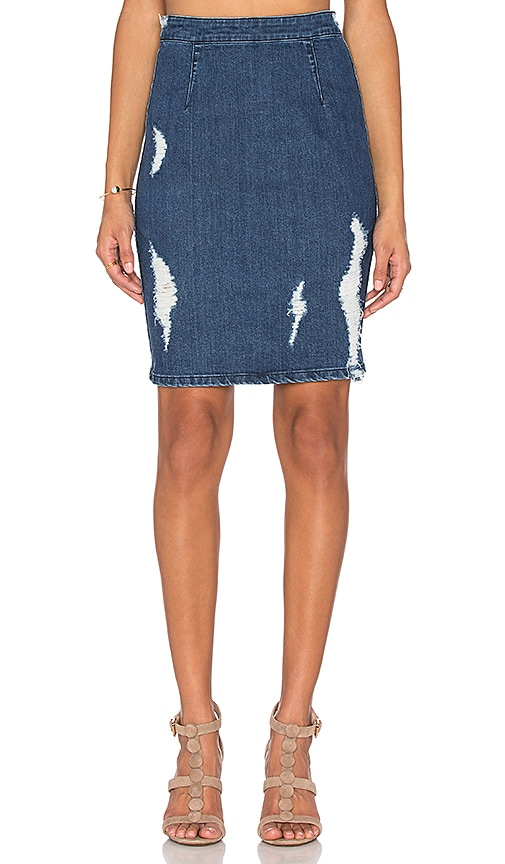 KENDALL + KYLIE Distressed High Rise Pencil Skirt in Blue