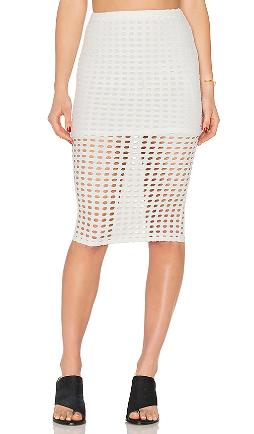 KENDALL + KYLIE Laser Cut Out Skirt in White