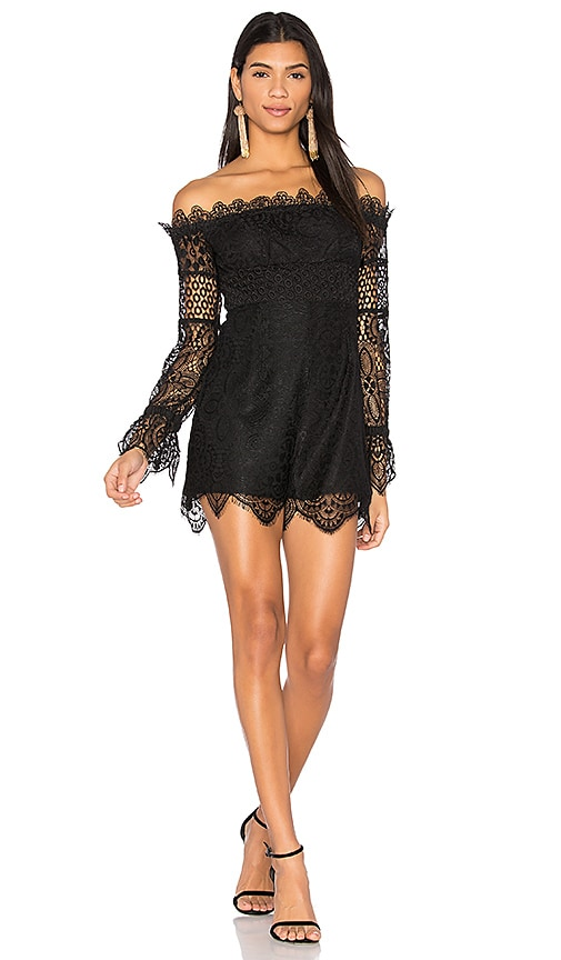 565685aeb9912 KENDALL + KYLIE Off Shoulder Lace Jumpsuit in Black