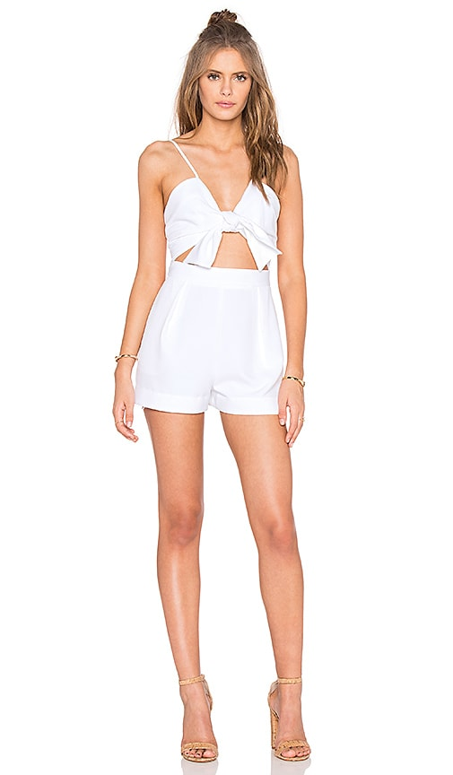 KENDALL + KYLIE Tie Front Romper in Bright White