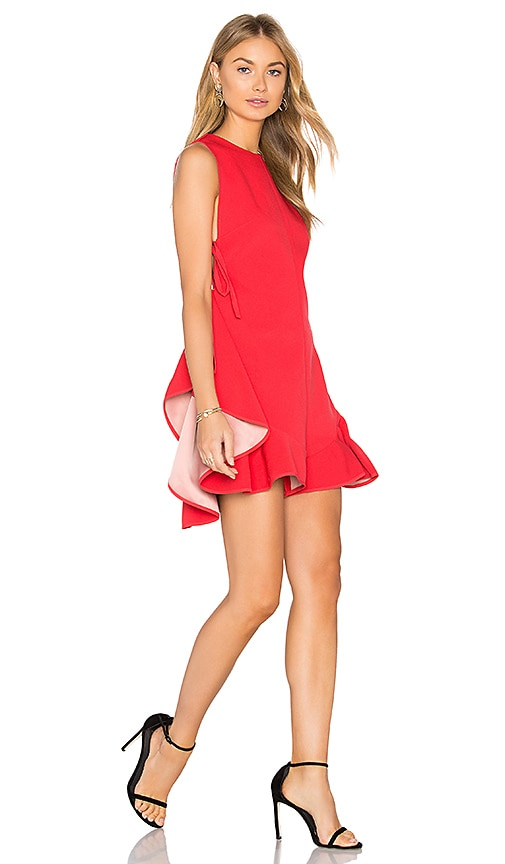 KENDALL + KYLIE Flutter Lace Up Romper in Red