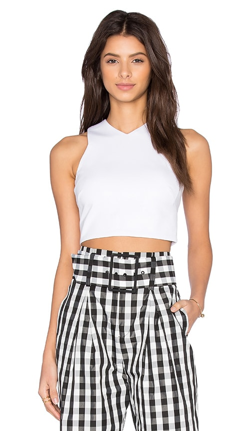 KENDALL + KYLIE Knit Halter Top in White