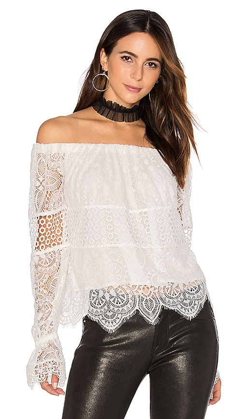 KENDALL + KYLIE Off Shoulder Lace Top in White