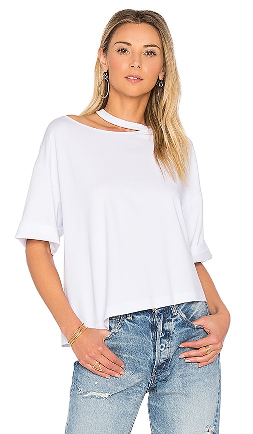 KENDALL + KYLIE Distressed Boxy Tee in White