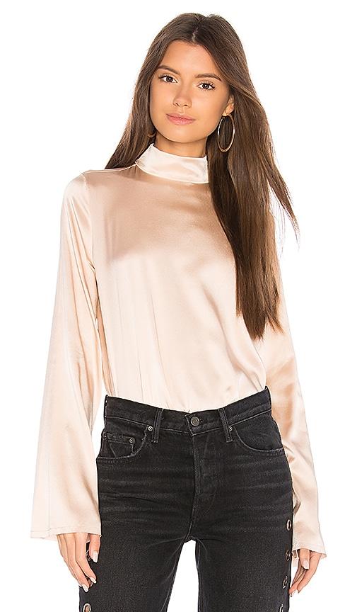 KENDALL + KYLIE Silk Oversized Mock Neck Blouse in Blush
