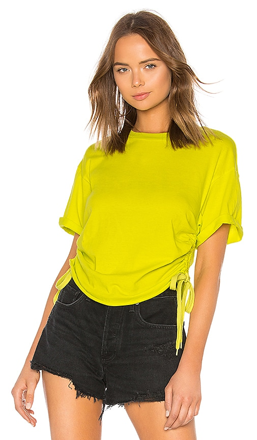 KENDALL + KYLIE Ruched Tie Side Tee in Green