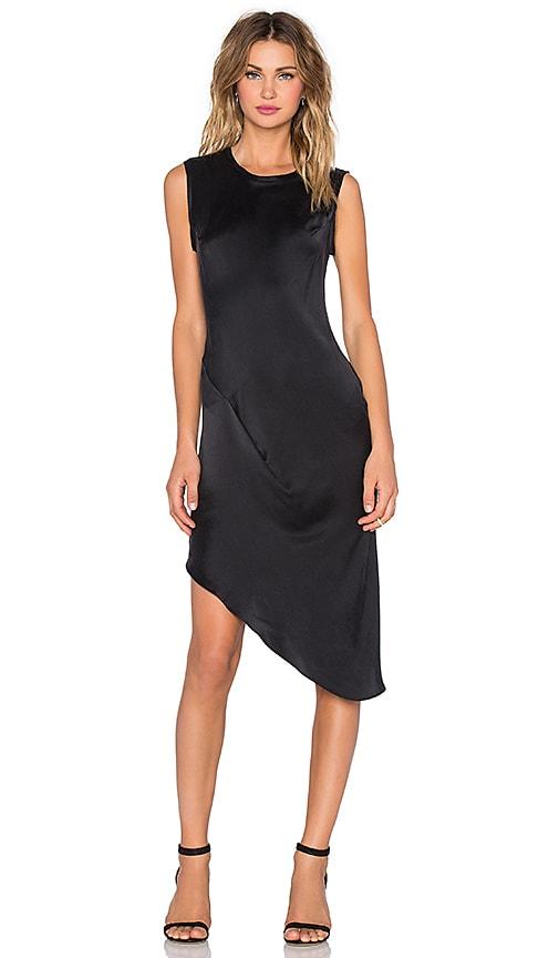 KES Asymmetric Drape Dress in Black
