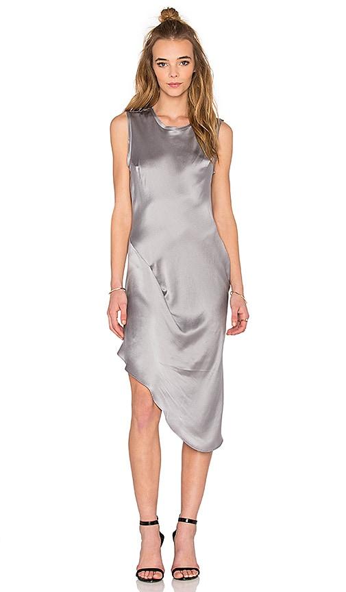 KES Asymmetric Drape Dress in Storm