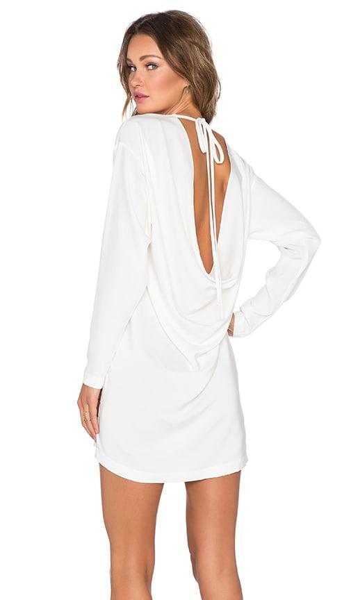 KES Open Back Drape Dress in White