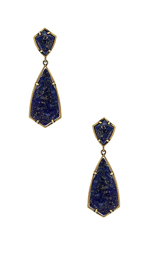 Kendra Scott Carey Earring in Antique Brass & Lapis