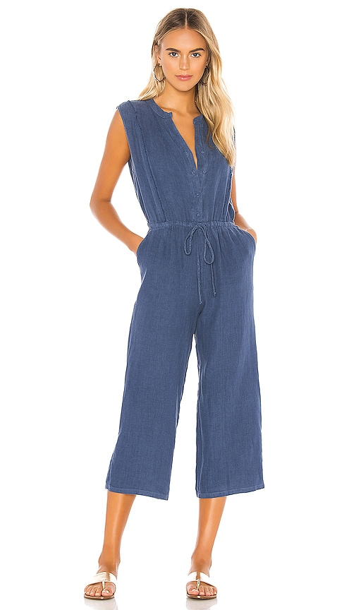 Button Front Cropped Jumpsuit