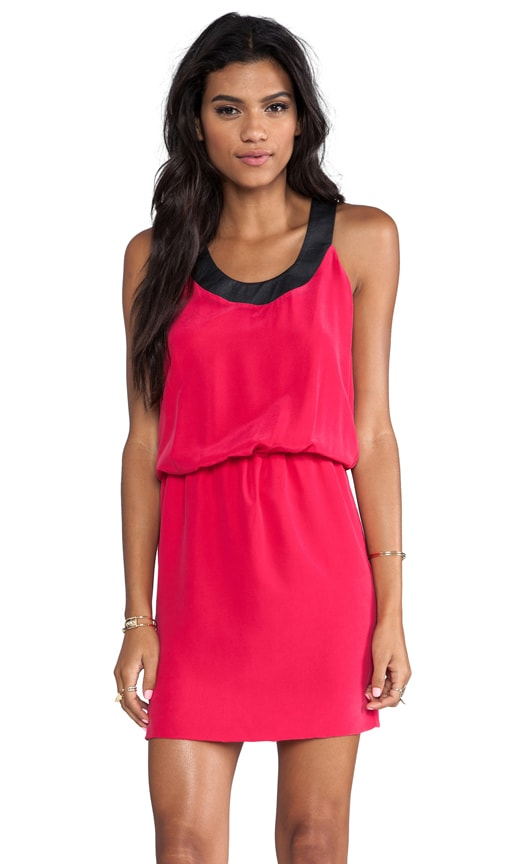 Washed Silk Contrast Tank Dress