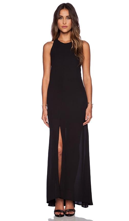 krisa Halter Cut Maxi Dress in Black