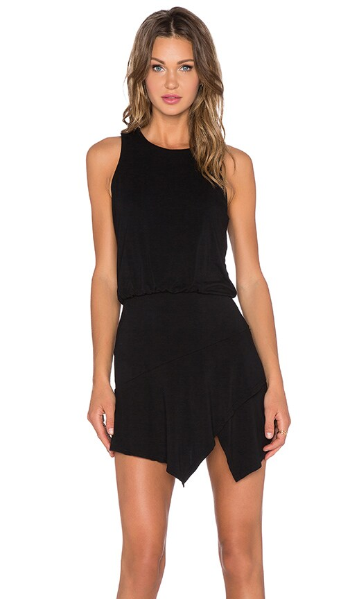 krisa Asymmetrical Mini Dress in Black
