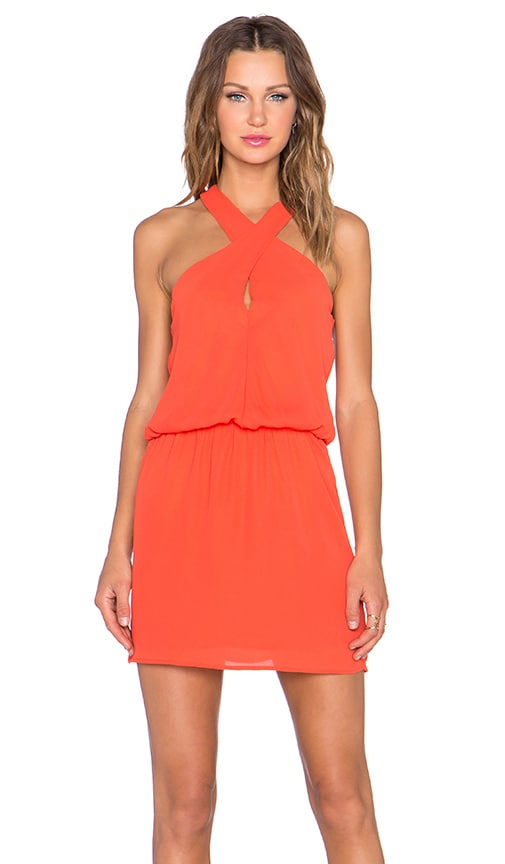 krisa Cross Front Dress in Orange