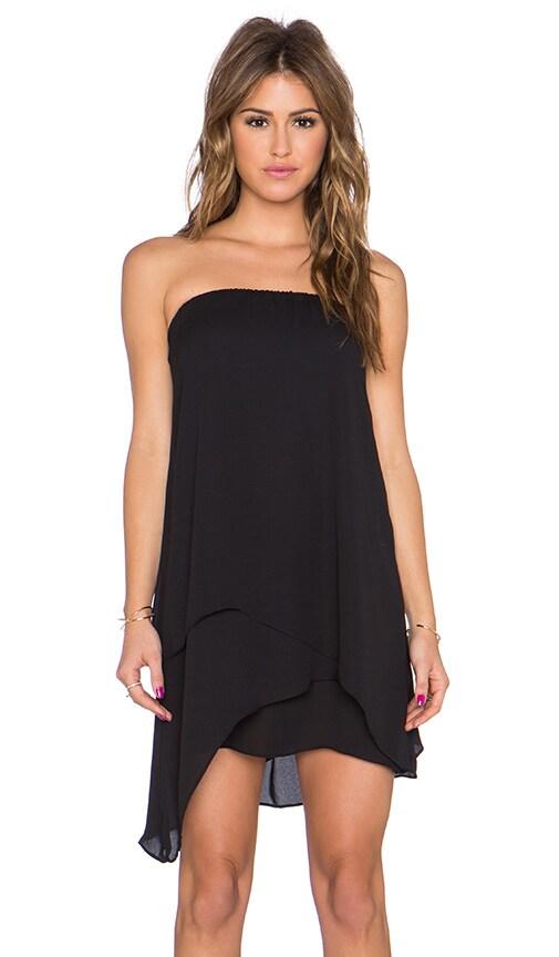 krisa Asymmetrical Tube Mini Dress in Black