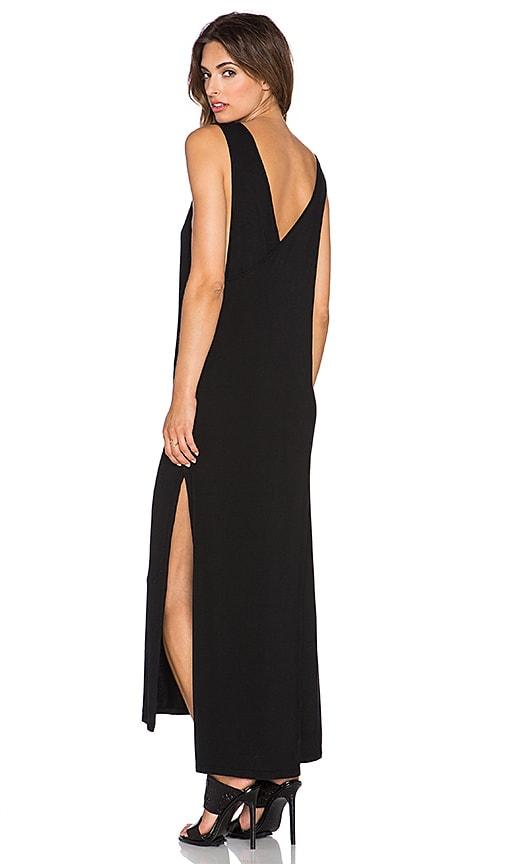 krisa Cross Back Slit Maxi Dress in Black