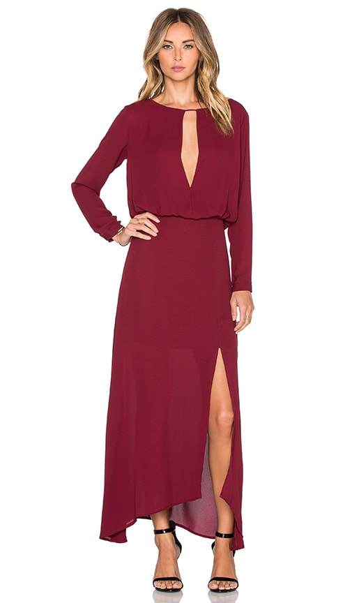 krisa Deep V Slit Maxi Dress in Wine