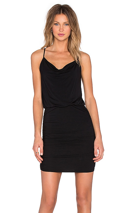 krisa Drape Cami Dress in Black