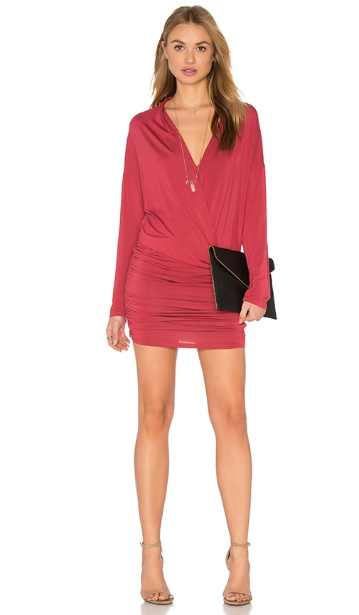 krisa Surplice Sheered Mini Dress in Red