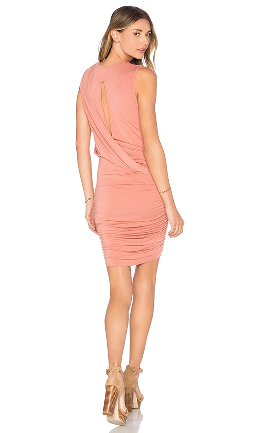 krisa Twisted Drape Sheered Mini Dress in Pink