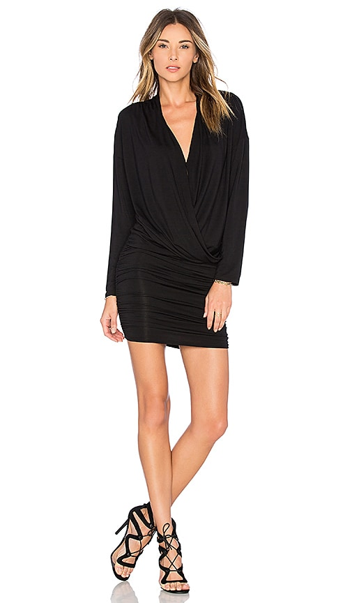 krisa Surplice Sheered Mini Dress in Black