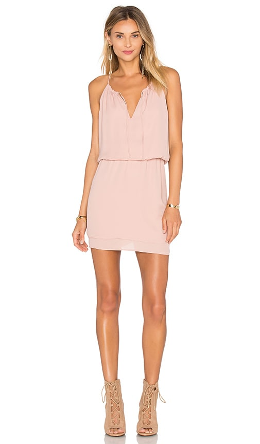 krisa Peasant Mini Dress in Blush