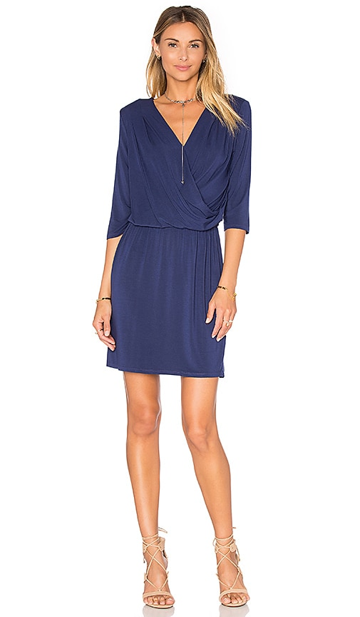 krisa Deep V Surplice Dress in Blue