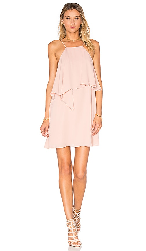 krisa Flounce Top Mini Dress in Blush