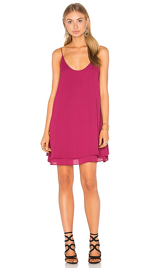 krisa Double Layer Cami Mini Dress in Fuchsia