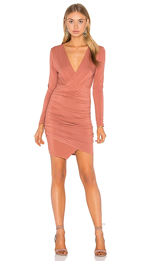 krisa Asymmetrical Surplice Mini Dress in Peach