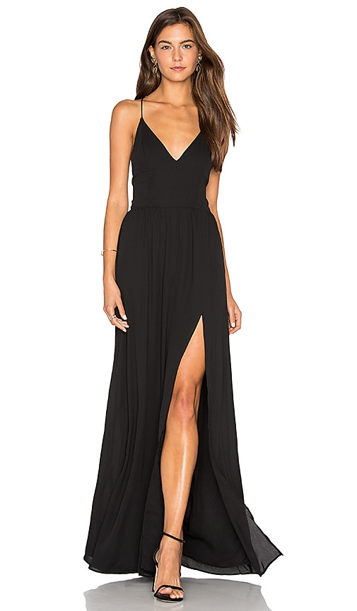 krisa Lace Back Maxi Dress in Black