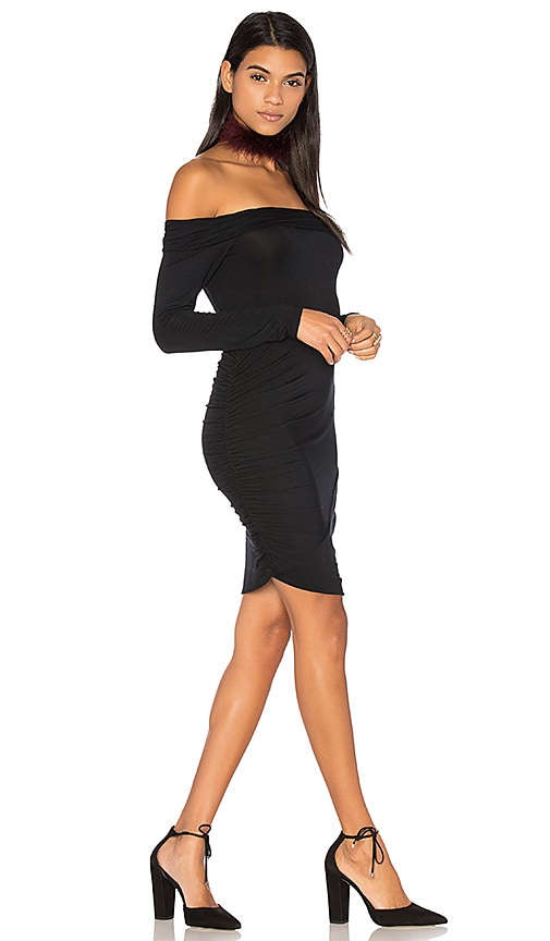 krisa Ruched Off Shoulder Mini Dress in Black