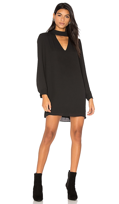 krisa Cutout Turtleneck Mini Dress in Black