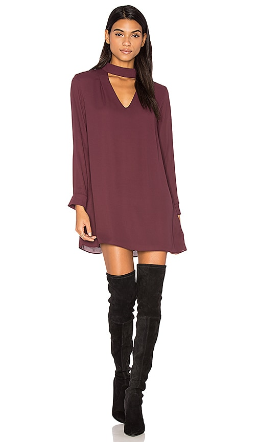 krisa Cutout Turtleneck Mini Dress in Purple